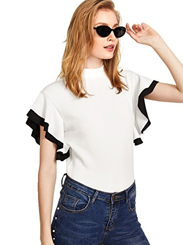 Romwe Womens Color Block Ruffle Mock Neck Flutter Sleeve T-Shirt Tops Blouse