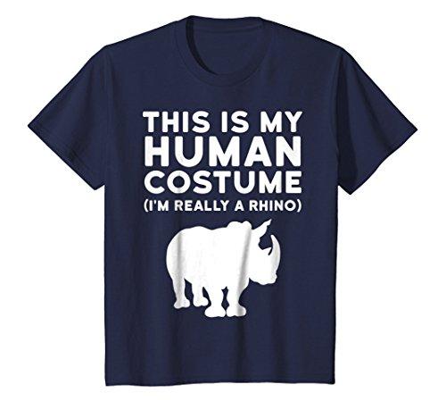 Kids This Is My Human Costume I'm Really a Rhino Halloween Shirt 8 Navy ()