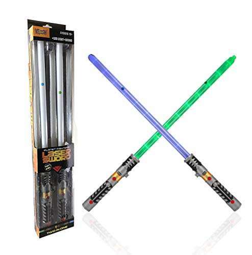 2-in-1 LED Light Up Sword FX Double Bladed Dual Sabers (2 Pack) by Liberty Imports (Image #6)
