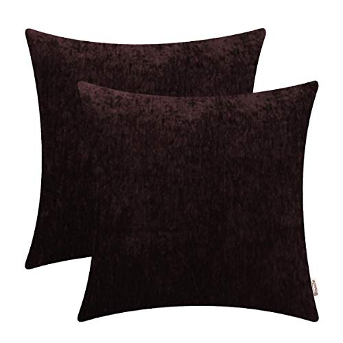 BRAWARM Comfy Throw Pillow Covers Cases for Couch Sofa Bed Solid Soft Chenille Striped Cushion Covers Cozy Textured Pillowcase Both Sides for Home Decoration 18 X 18 Inches Coffee Pack of 2 (Chenille Brown Sofa)