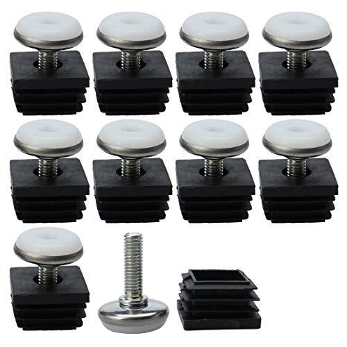 (uxcell Leveling Feet 25 x 25mm Square Tube Inserts Kit Furniture Glide Adjustable Leveler for Table Leg 10 Sets)