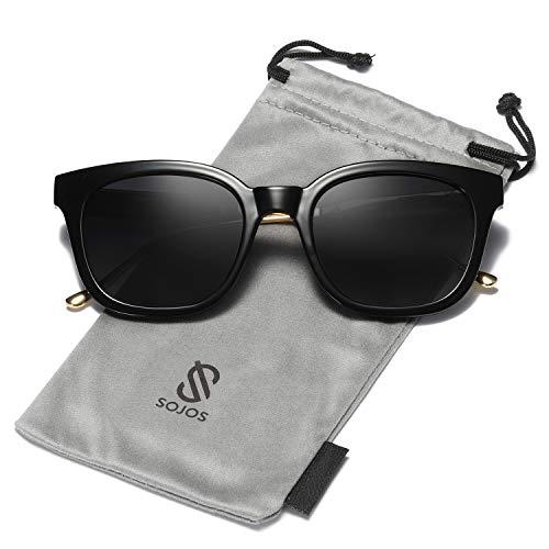 SOJOS Classic Square Polarized Sunglasses Unisex UV400 Mirrored Glasses SJ2050 with Black Frame/Grey Polarized ()