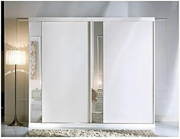 Armario 2 puertas correderas con espejo blanco como fotos madera maciza – como fotos blanco y marfil: Amazon.es: Hogar