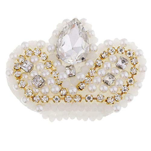 Glass Beads Crystal Crown Fabric Patches Applique Rhinestones Diamond Badges | Color - Yellow