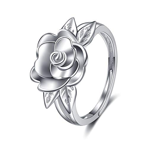 LUHE Rose Rings,925 Sterling Silver 3D Adjustable Rose Flower Rings Jewelry Gifts,Romantic Gifts for Women Girls Her, (Adjustable Rose Rings)