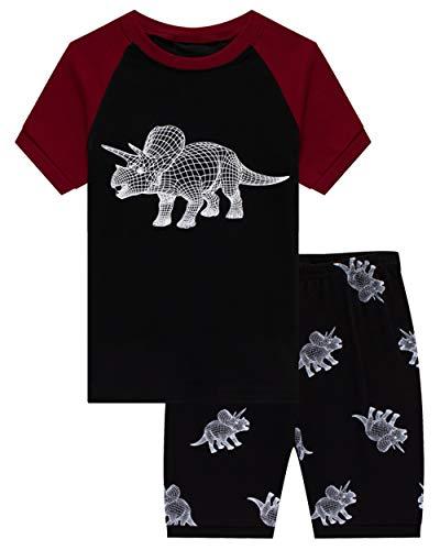 KikizYe Little Boys Glow in The Dark Dinosaur Pajamas Short Sets 100% Cotton Kid Summer Sleepwear Pjs 7