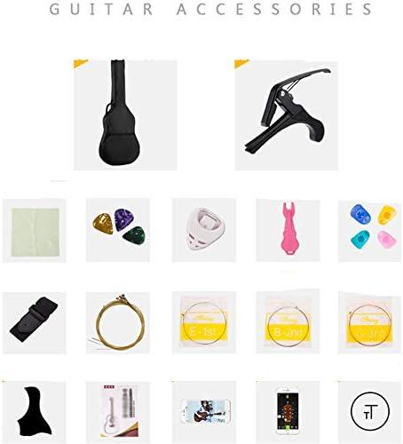 アコースティックギター アコースティックギター初心者男性と女性のエントリ学生大人の木製ギター 小学生 大人用 ギター初級 (色 : 褐色, Size : 38 inches)