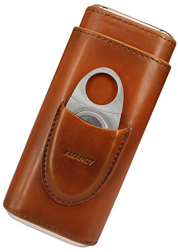 AMANCY Top Quality 3- Finger Brown Leather Cigar Case, Cedar Wood Lined Cigar Humidor with Silver Stainless Steel Cutter by AMANCY (Image #2)