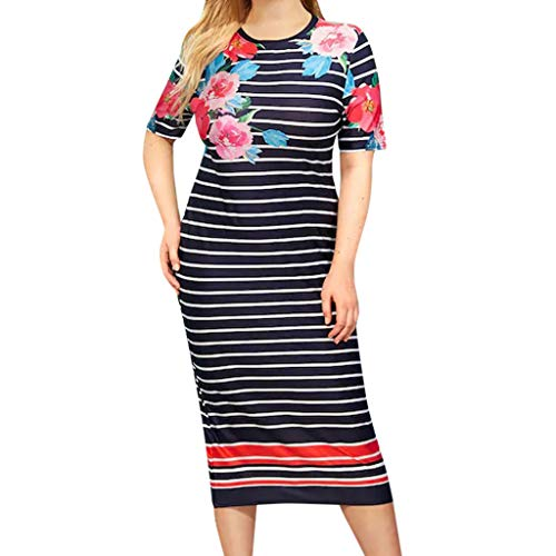 CCatyam Plus Size Dresses for Women, Skirt O-Neck Print Oversize Sexy Loose Party Daily Fashion