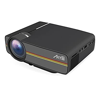 Artlii Mini Video Projector 1200 Lumens Portable Multimedia Home Cinema Theater support 1080P LED LCD Ideal for Video Games, Movie Night, Family Videos and Pictures