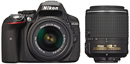 Nikon-D5300-242-MP-CMOS-Digital-SLR-Camera-Double-Zoom-Lens-Kit-with-18-55mm-f35-56G-ED-VR-II-55-200mm-f45-56G-International-Version-No-Warranty