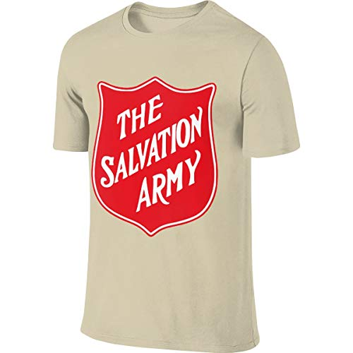 Men's The Salvation Army Christian T Shirt T-Shirt Summer Short-Sleeve Round Neck Shirts Cotton Sport Tops Natural XXL