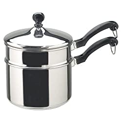 Farberware Classic Stainless Steel 2-Quart Covered Saucepan with Double Boiler Insert