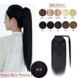 100% Remy Human Hair Ponytail Extension Wrap Around One Piece Hairpiece With Clip in Comb Binding Pony Tail Extension For Girl Lady Women Long Straight #1B Natural Black 20'' 95g