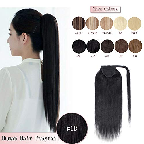 100% Remy Human Hair Ponytail Extension Wrap Around One Piece Hairpiece With Clip in Comb Binding Pony Tail Extension For Girl Lady Women Long Straight #1B Natural Black 20'' 95g (Long 20' Clip Straight)