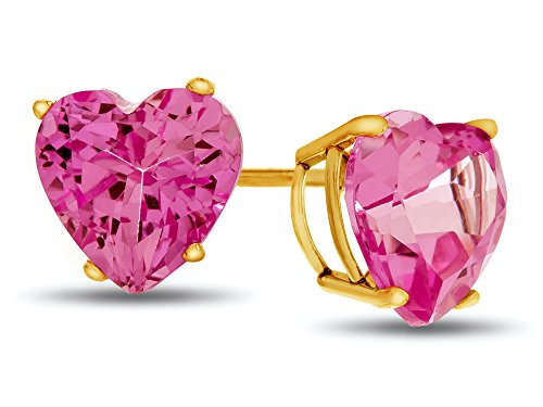 (Finejewelers 7x7mm Heart-Shaped Created Pink Sapphire Post-With-Friction-Back Stud Earrings 10k Yellow Gold)