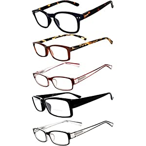 Readers 5 Pack of Men Women Reading Glasses Deluxe Spring or Fix Hinge Stylish Look 180 Days Guarantee +4