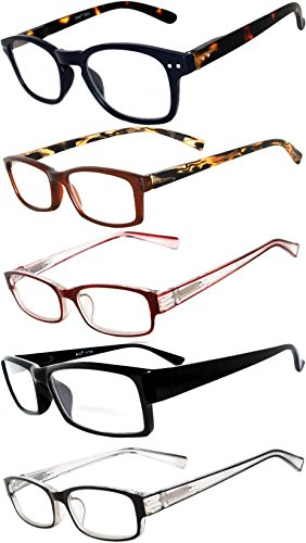 Readers 5 Pack of Men Women Reading Glasses Deluxe Spring or Fix Hinge Stylish Look 180 Days Guarantee - Online Mens Glasses Cheap