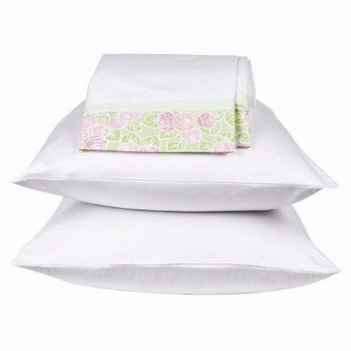 Bacati Flower Basket Standard Pillowcase, Green (Bacati Flower Basket)