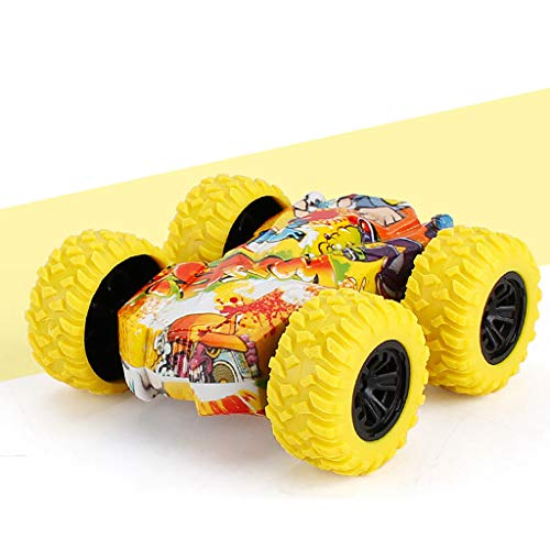 MINGE Inertia Double Side Pull Back Cars Friction Powered Vehicles Stunt Graffiti Car Off Road Model Toy Car for Kids Yellow