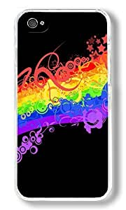 Abstract Rainbow Custom iphone 5 5s Case Back Cover, Snap-on Shell Case Polycarbonate PC Plastic Hard Case white