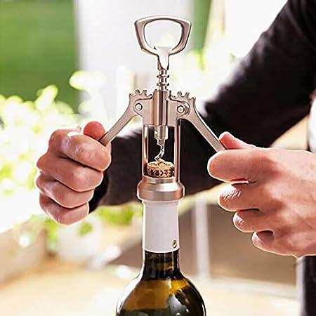 HGDM Abridor Descorchador Profesional De Botellas De Vino, Sacacorchos De Vino Tipo Wing con Brazos Antideslizantes, 17X5.6X3.5Cm, 1Ud, Plata E Inoxidable
