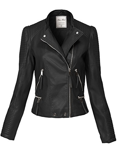 Silver Hardware All Over Zip Moto Faux Leather Jackets, 137-black, Medium