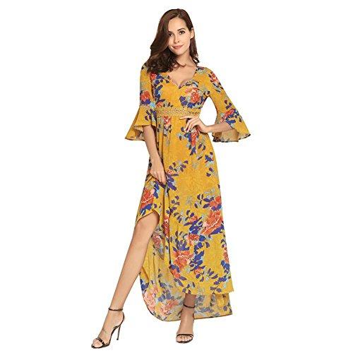 Pizzo In V In XL Yellow Profonda Maxi Donna Scollo Floreale Cave A Stampa Bohemien Chiffon Dress xnq4nUwp0