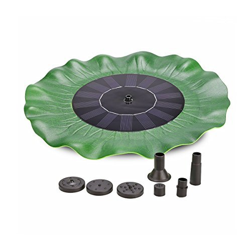 CATNOCT Solar Energy Panel Green Lotus Leaf Pools Decorative Fountain with Micro Brushless Water Pump Submersible for Ponds Fountain Pool Garden 8V 1.4W 200L/h Lift 20in (Leaf Fountain Five)