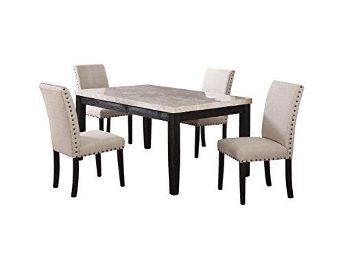 Best Master Furniture 9802 Celeste 5 Piece Faux Marble Antique Black Dinette Set (5 Piece Faux Marble)