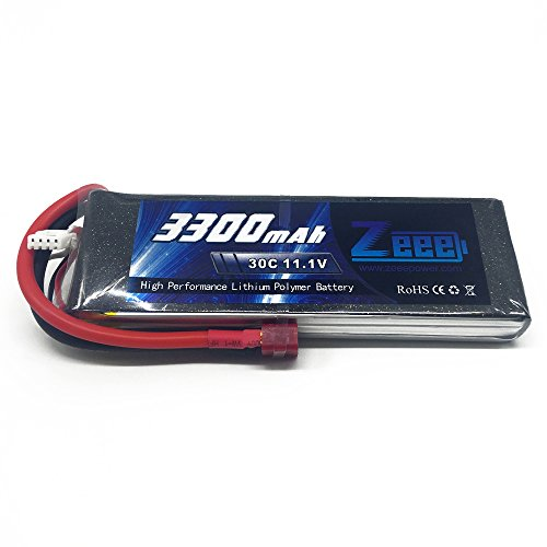 Zeee 3S 3300mAh 30C 11.1V LiPo Drone Battery with T-connector Plug for for RC Car Boat Truck Heli Airplane
