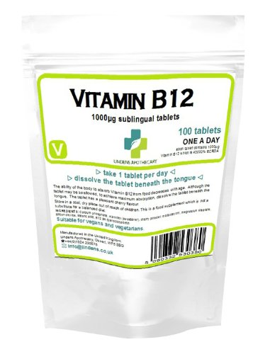 Lindens Vitamin B-12 B12 100 x 1000mcg Tablets - High Potency