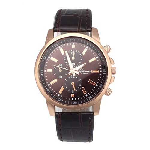Siviki Watch, Fashion Geneva Leather Analog Dial Quartz Sport Wrist Watch (Brown Leather Geneve Watch)