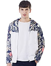 Men's Lightweight Floral Hooded Slim Fit Windbreaker Bomber Jackets