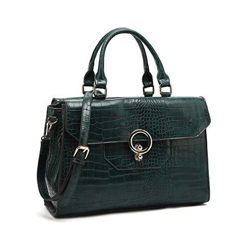Women's Purses and Handbags Designer Pu Leather Shoulder bag Tote Bag Purse Set Fashion Embossed Top Handle Bags (Green)