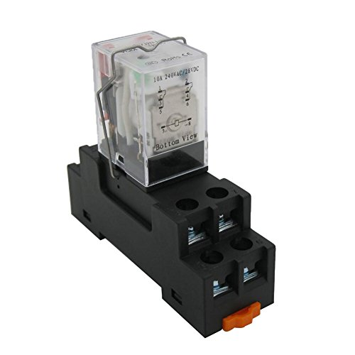 TWTADE/DC 12V Coil Electromagnetic Power Relay 10A 2DPT 8 Pins 2NO+2NC LY2J with YJTF08A-E Socket Base (Quality Assurance for 2 Years) YJ2N-LY