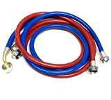 2-Pack PVC and Inside Nylon Braided Premium Washing Machine Hoses - 6 FT No-Lead Burst Proof Red and Blue Colored Water Inlet Supply Lines - Universal 90 Degree Elbow Connection - 10 Year Warranty