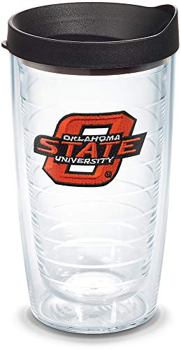 (Tervis 1056033 Oklahoma State Cowboys Logo Tumbler with Emblem and Black Lid 16oz, Clear)