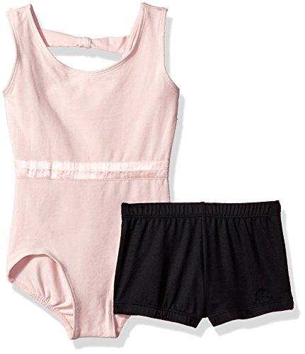 Danskin Big Girls' Leotard and Short, Petal Pink/Black, Large (12/14