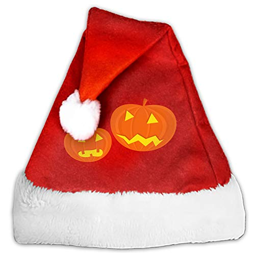 Santa Hat,Unisex Pumpkins Faces Scary Halloween Funny Carving Christmas Hat with Comfort Lining&Plush Brim -