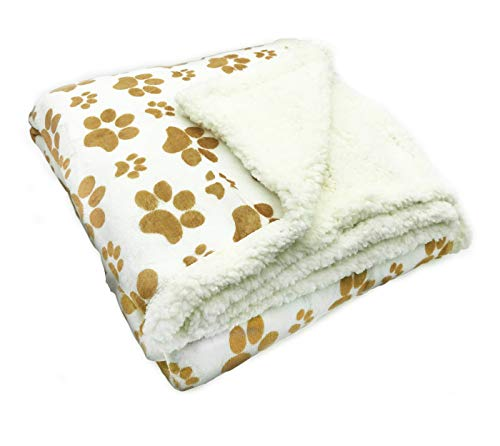 (Longrich Indented Paw Print Flannel Throw Blanket, 50