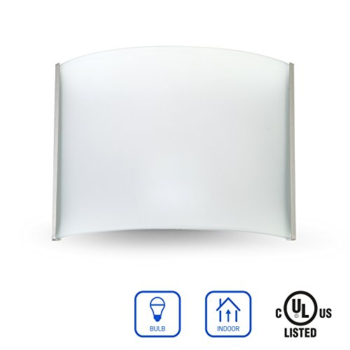 OSTWIN 1-Light Interior Glass Wall Sconce Lighting Fixture WS09, Hardwire E26 Base Modern Wall Mount Lamp Lights, Brushed Nickel Finish with Frosted Glass Shade, UL listed