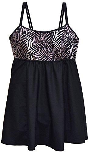 NWSC Women's Plus Size Scoop Neck Swimdress Swimsuit (24W, Black Grey)