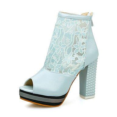 Talones de las mujeres Zapatos Primavera Verano Otoño club de cuero para oficina y del partido Carrera y vestido de noche Chunky talón Cadena Negro Azul Rosa Beige Blue
