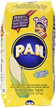 P.A.N. White Corn Meal – Pre-cooked Gluten Free and Kosher Flour for Arepas, 1 Kilogram (35 Ounces / 2 Pounds