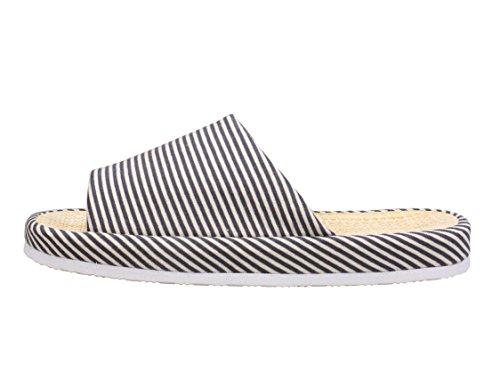 Grey Unisex Slippers Zebra Zicoope Steel Stripe Indoor Flax Cotton 8qSppPnwd