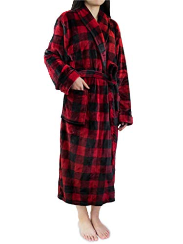 (Premium Women Fleece Robe | Luxurious Super Soft Plush Checkered Spa Bathrobe )