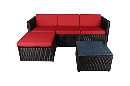 Garden Sofa Table - Modern Outdoor Garden, Sectional Sofa Set with Coffee Table - Wicker Sofa Furniture Set (Black / Red)