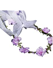 PRETYZOOM Flower Garland Headband Simulated Veil Headdress Flower Wreath Hair Accessories Fairy Hair Hoop for Bridesmaid Wedding Girls Women