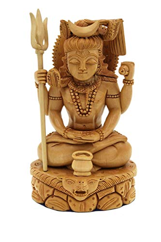 Murti Sculptures - Shiva Statue in Meditation pose handmade in Wood - Lord Shiv wood carving idol | figurine | murti | sculpture